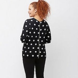 Lane Bryant 14 16 black white polka dot sweater